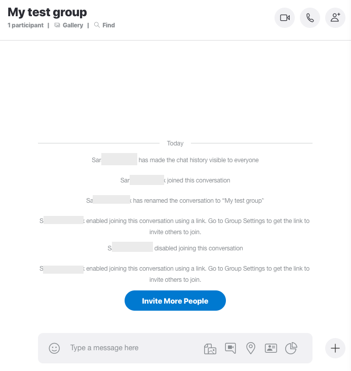 Screenshot Skype > My test group