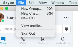Screenshot Skype > File > New Group...