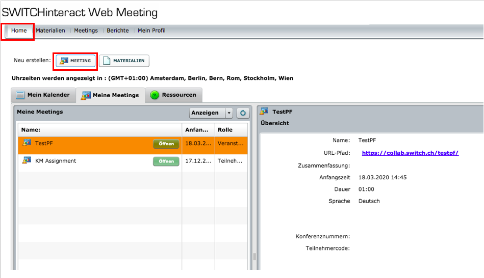 Screenshot SWITCHinteract Web Meeting der die vorangegangen Schritte zeigt.