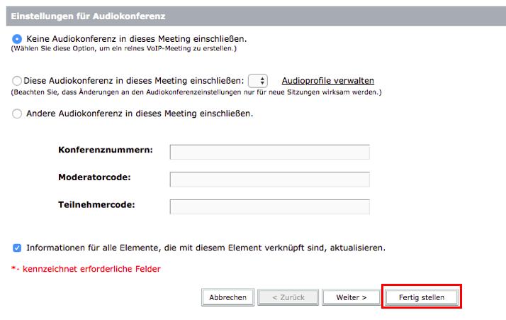Screenshot SWITCHinteract Web Meeting Einstellungen für Audiokonferenz der die vorangegangen Schritte zeigt.