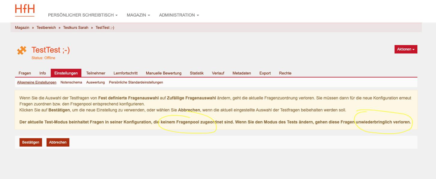 Screenshot ILIAS Magazin > Testbereich > Einstellungen > Allgemeine Einstellungen