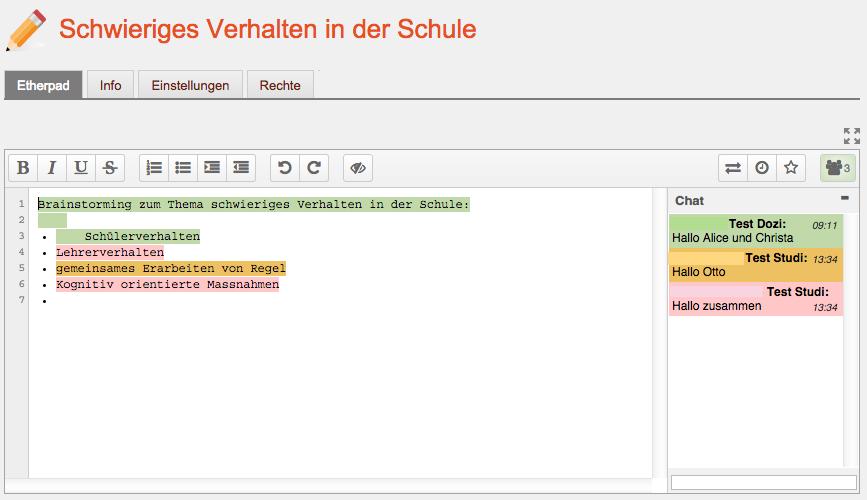 Screenshot Etherpad Beispiel Brainstorming 3 Personen