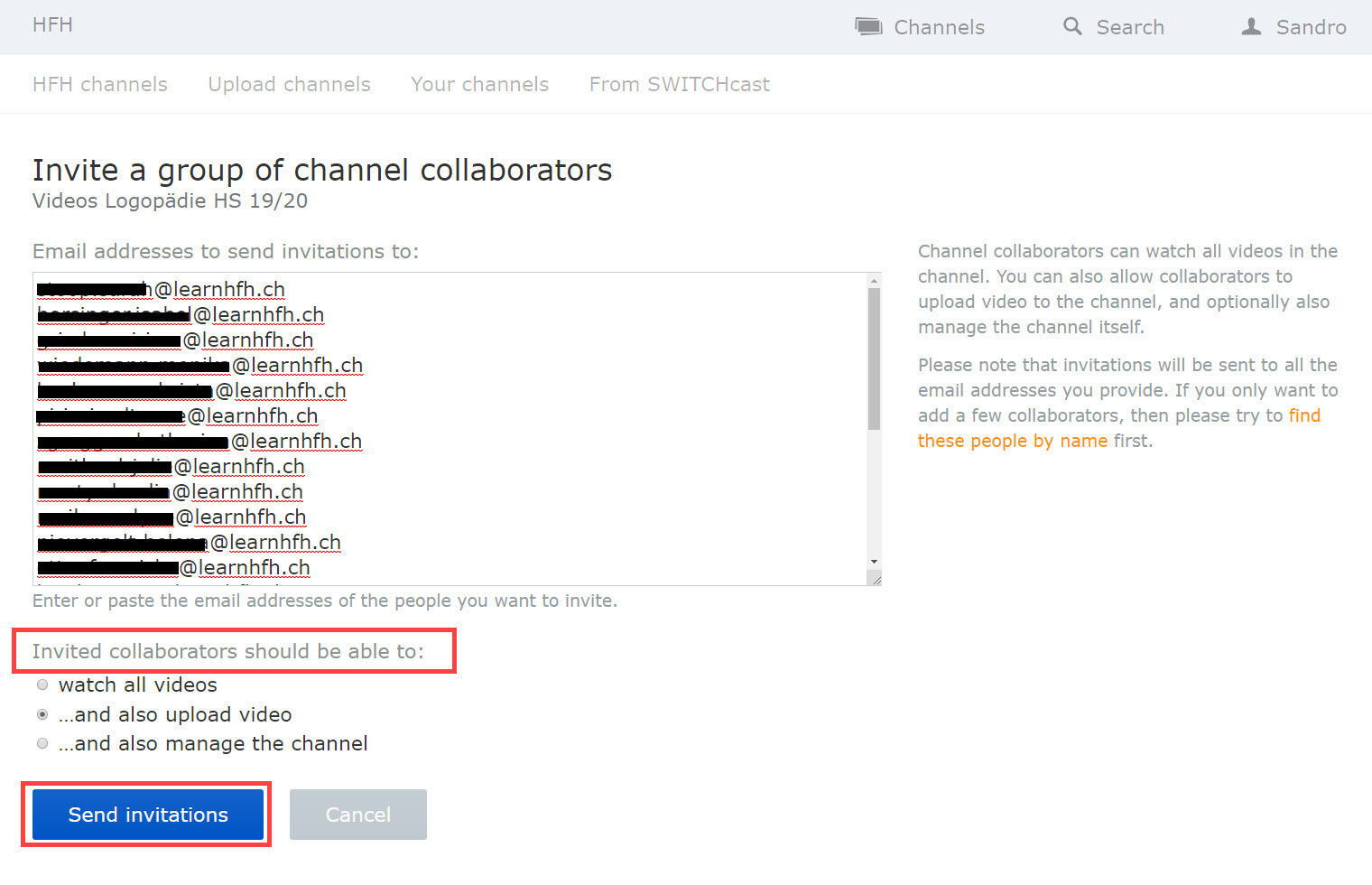Screenshot SWITCHtube Channels > Invite a group of channel collaborators