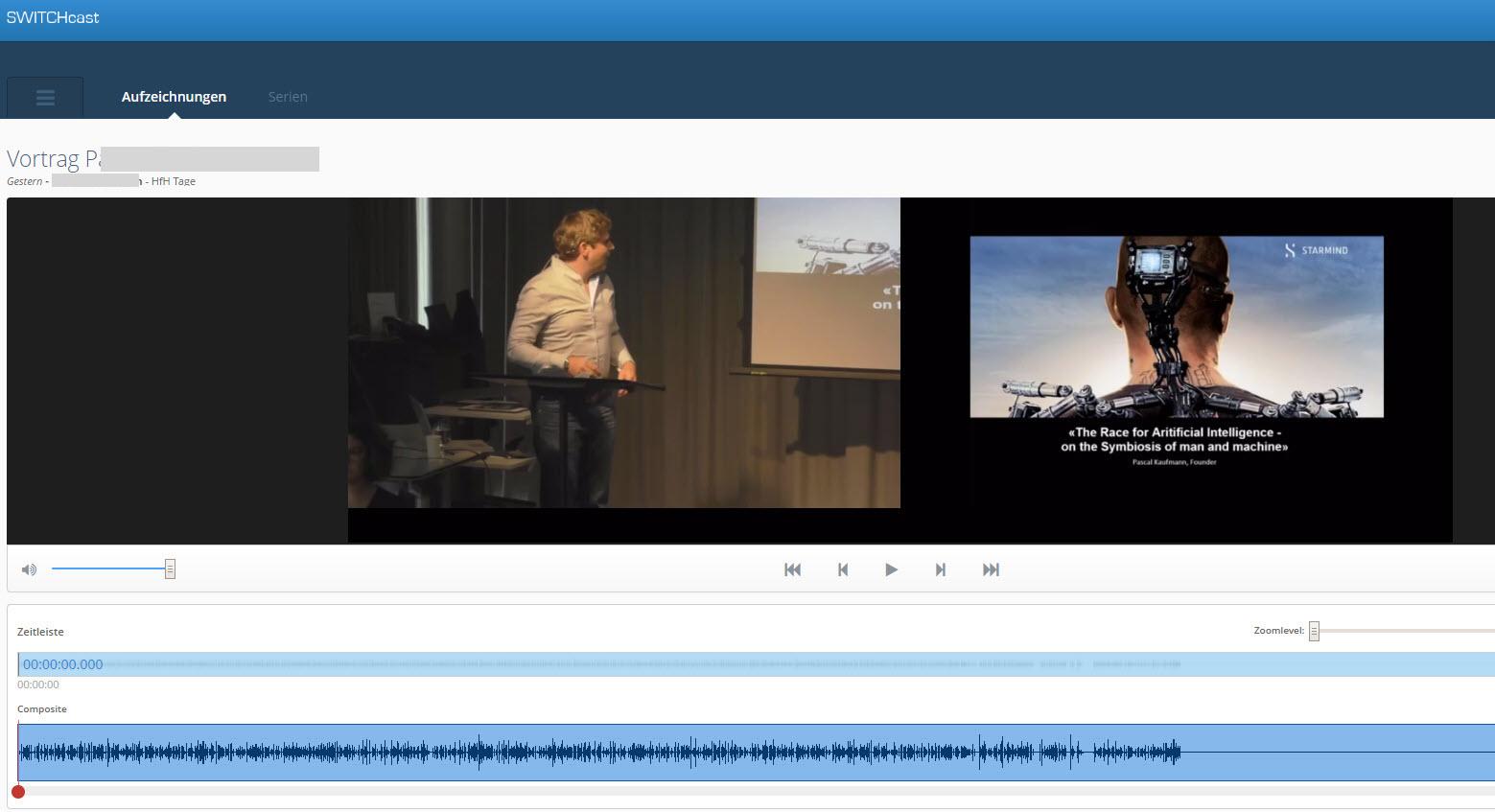 Screenshot SWITCHcast > Aufzeichnungen > schneiden
