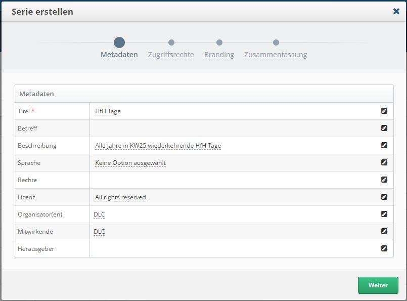 Screenshot SWITCHcast Serie erstellen > Metadaten