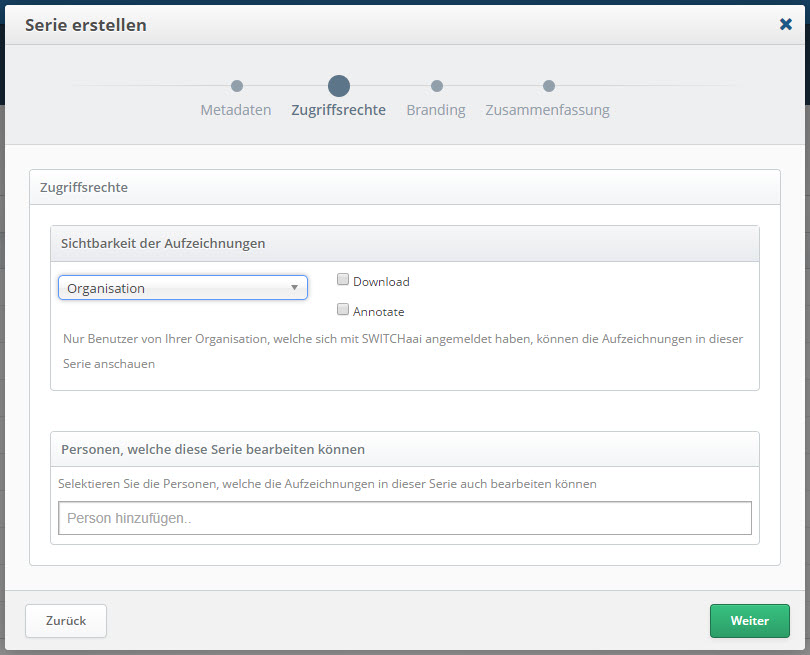 Screenshot SWITCHcast Serie erstellen > Zugriffsrechte
