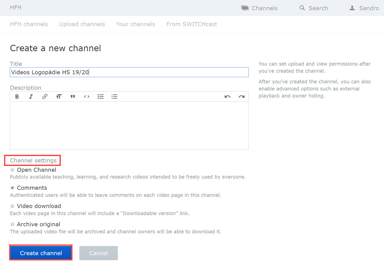 Screenshot SWITCHtube Channels > create new channels