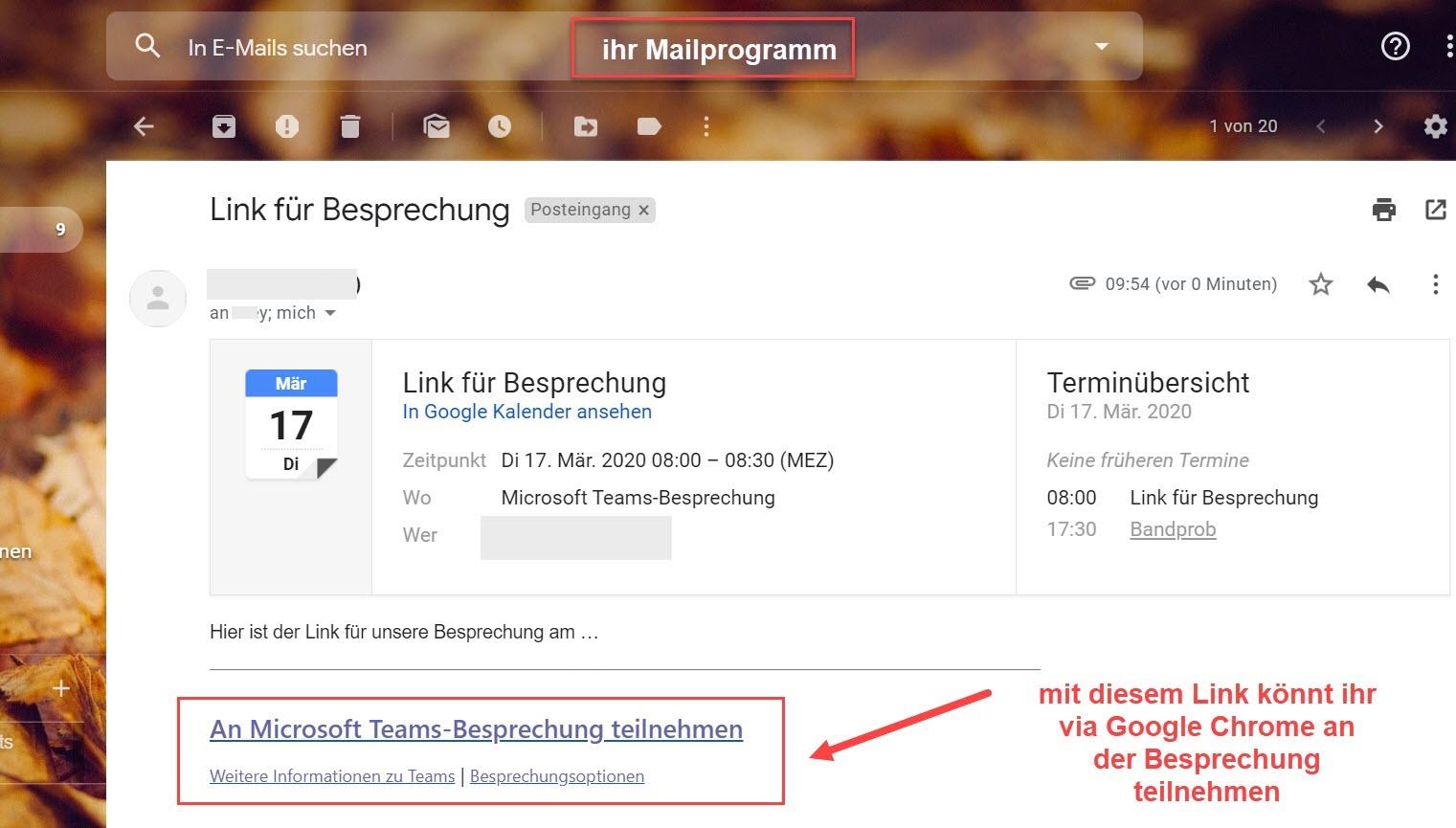 Screenshot Mailprogramm > Mail mit Einladung > Link für besprechung