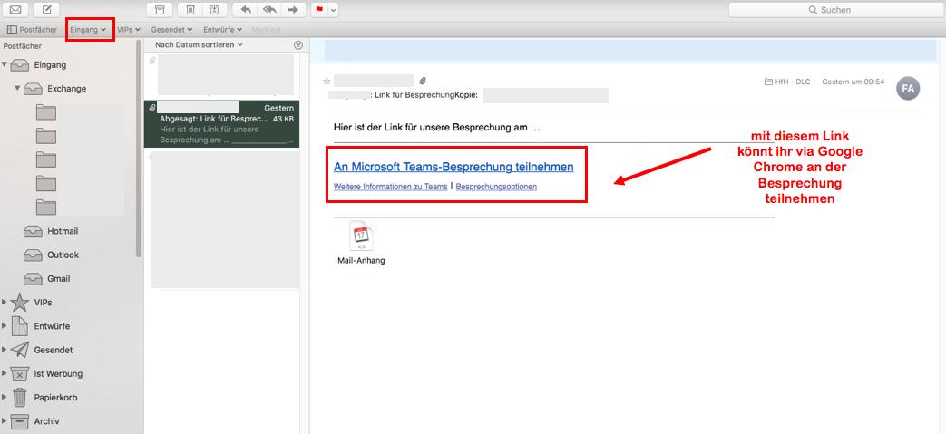 Screenshot Mailprogramm > Einladung > Link zu Besprechung
