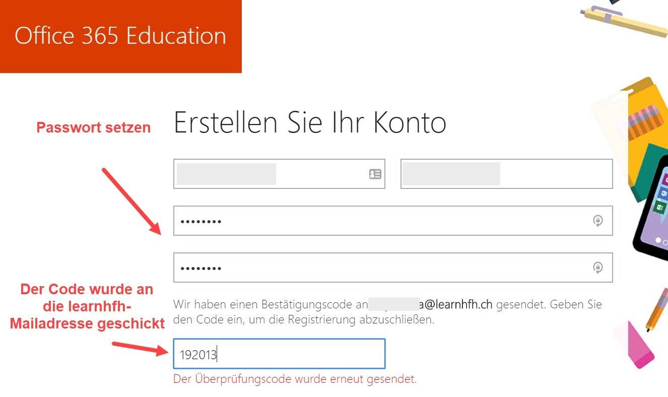 Screenshot Office 365 Education > Erstellen Sie Ihr Konto
