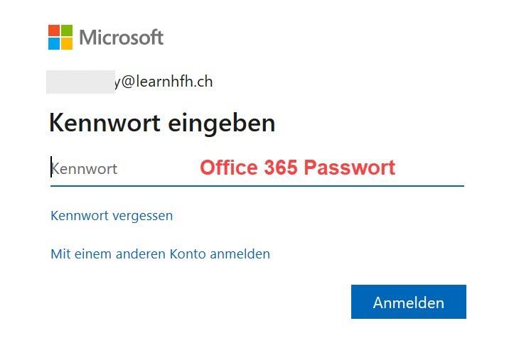 Screenshot MS Teams > Anmelden > Kennwort eingeben