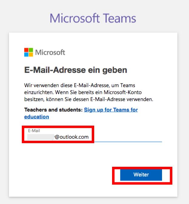 Screenshot MS Teams > Anmeldung