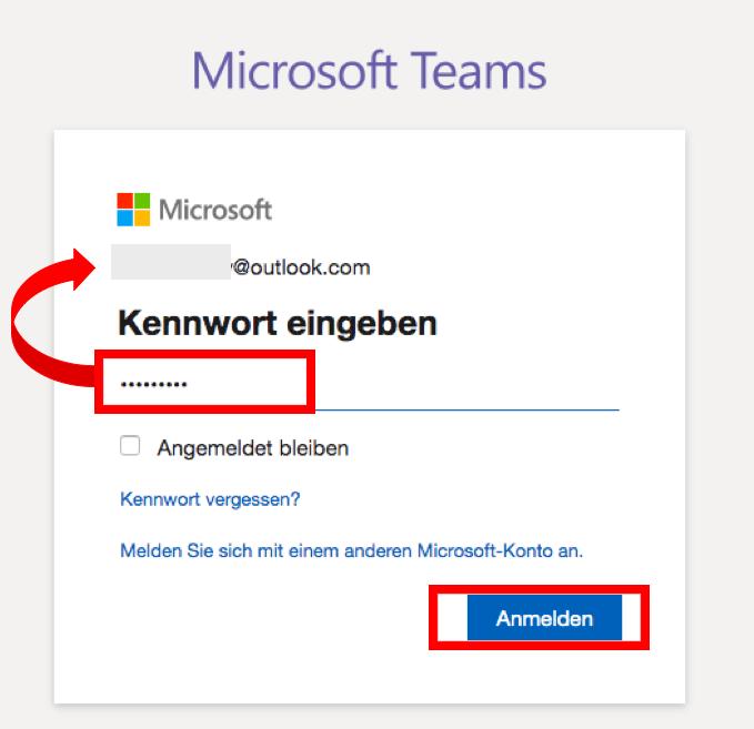 Screenshot MS Teams > Anmeldung > Kennwort