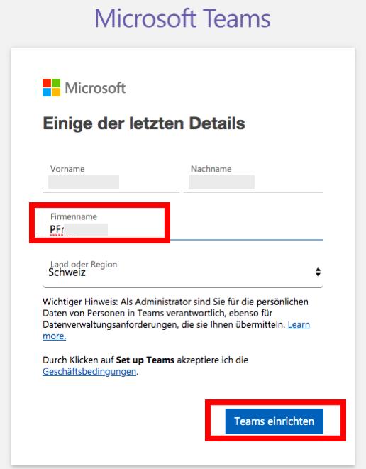Screenshot MS Teams > Firmenname eingeben