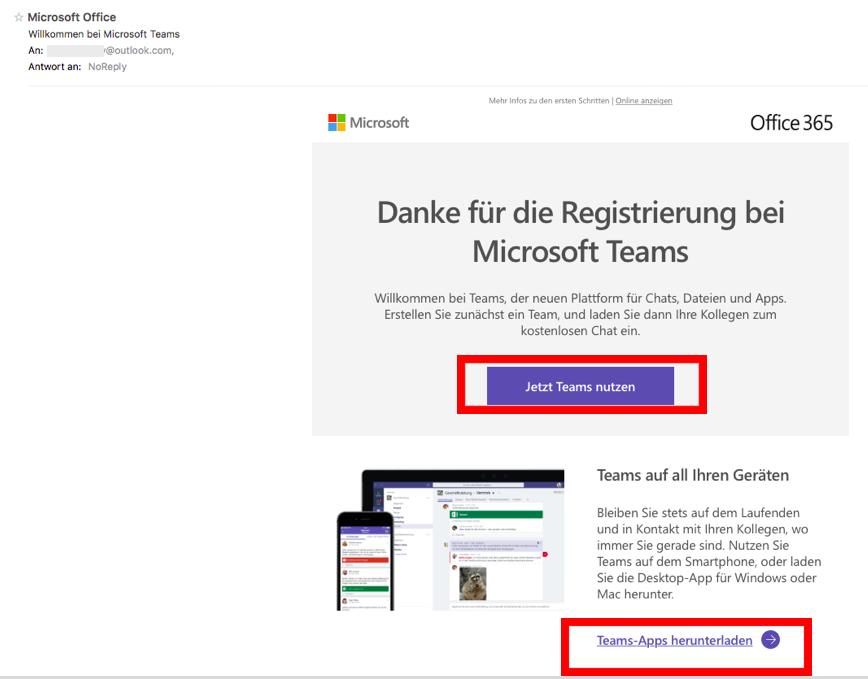 Screenshot Mailprogramm > Registrationsmail