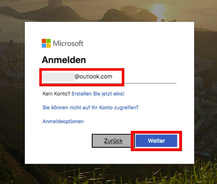Screenshot MS Teams > Anmelden