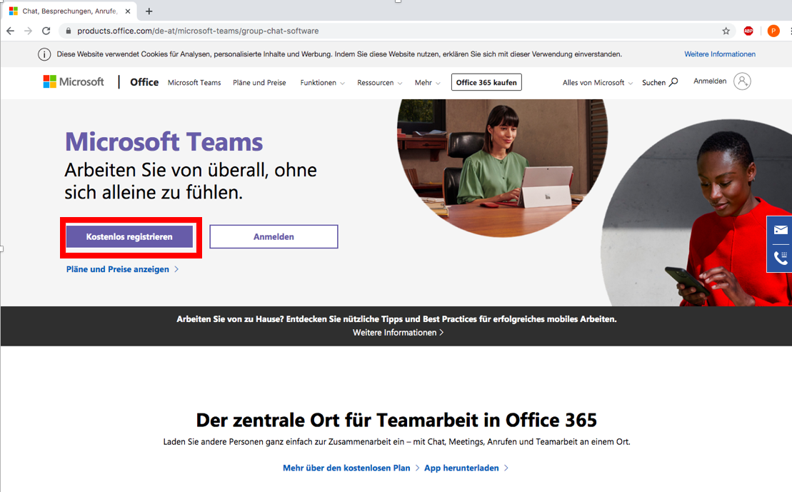 Screenshot MS Teams Registrierung