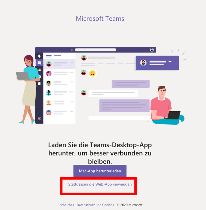 Screenshot MS Teams > App öffnen oder Web-App verwenden