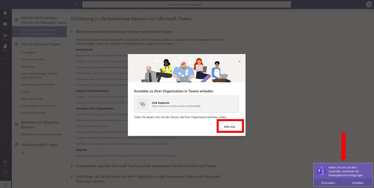 """Screenshot MS Teams > Meldung zu """"Link kopieren"""" und Einstellungen zu Desktop-Benachrichtigungen"""