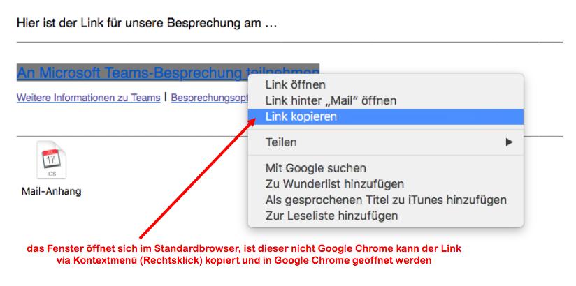 Mail > Besprechungseinladung > Link kopieren