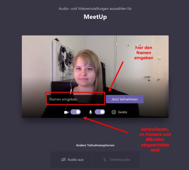 MS Teams > MeetUp > teilnehmen
