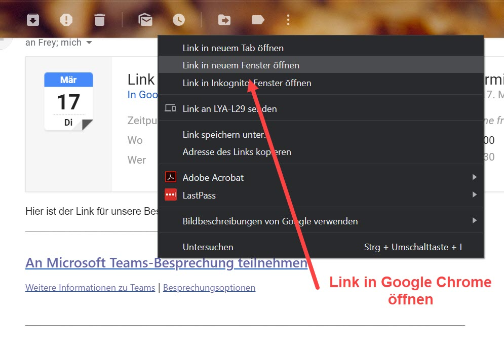 Mailprogramm > Besprechungseinladung > Link in Chrome öffnen