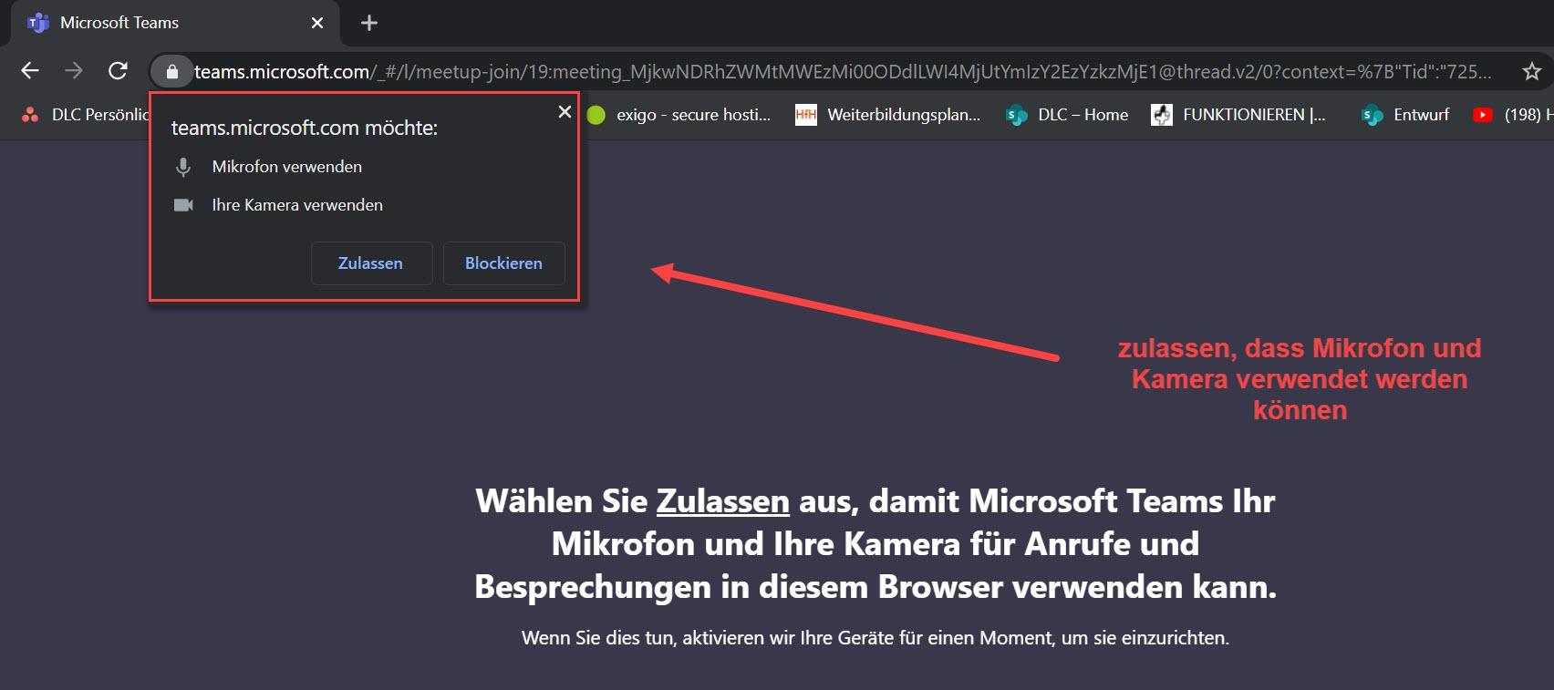 Chrome > Zugriff für Mikrofon und Kamera erlauben