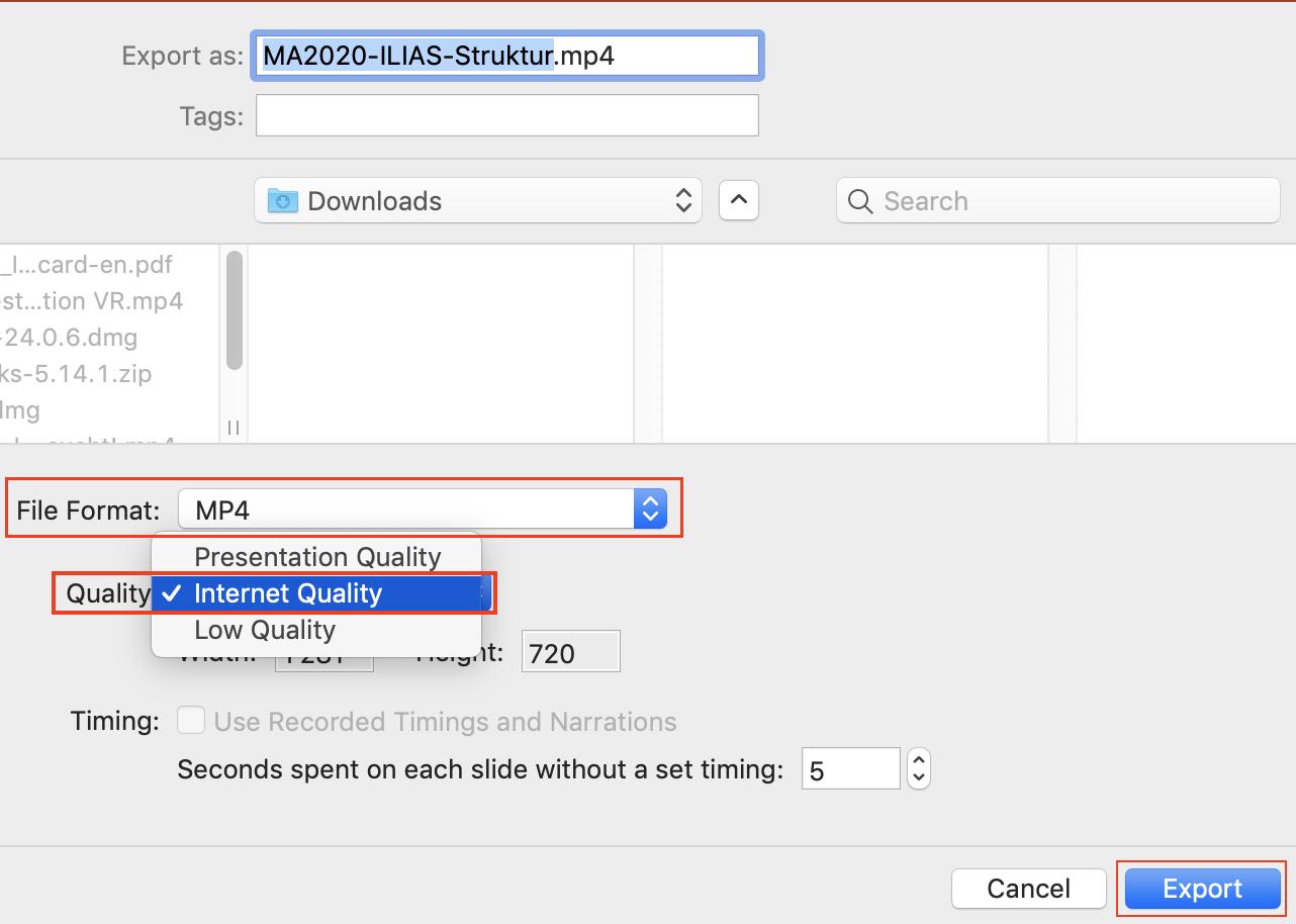 Screenshot Powerpoint Export Qualität