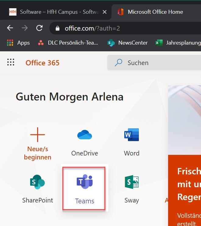 Office 365 > MS Teams öffnen