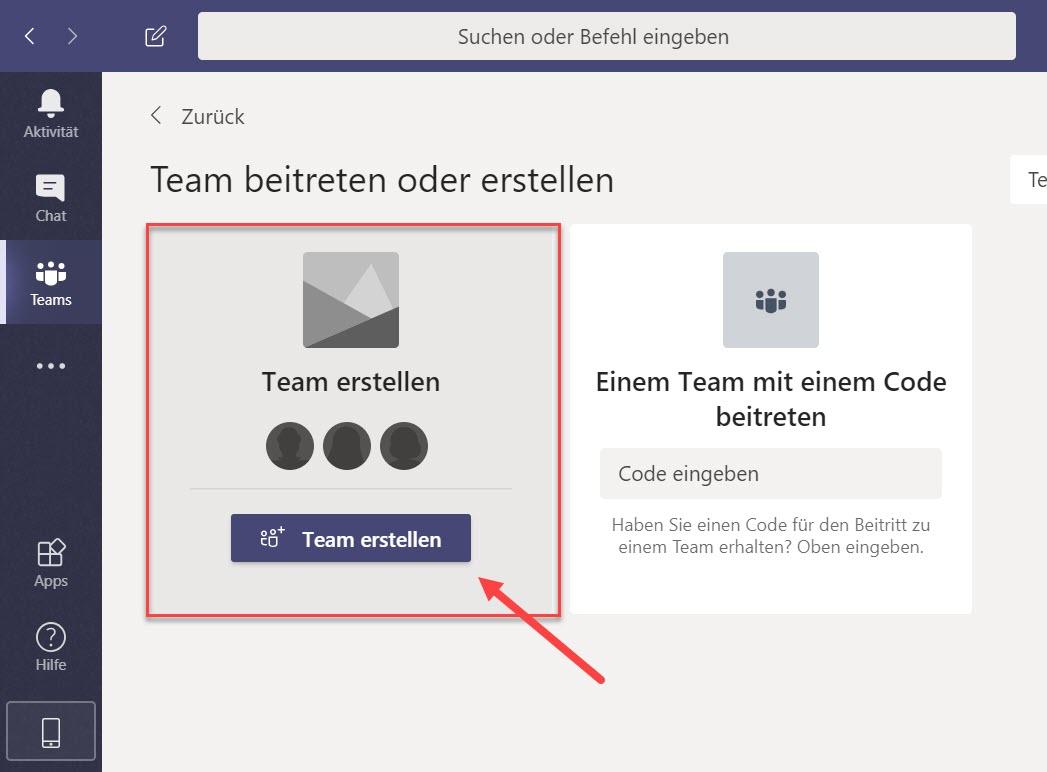 MS Teams > Teams > Teams beitreten oder erstellen
