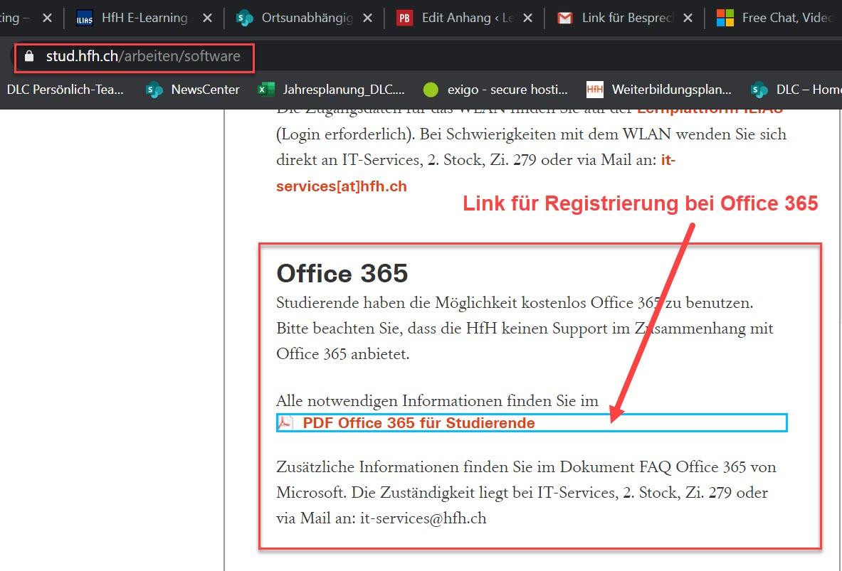 Screenshot stud.hfh.ch/arbeiten/software > PDF Office für Studierende > Link für Registrierung bei Office 365