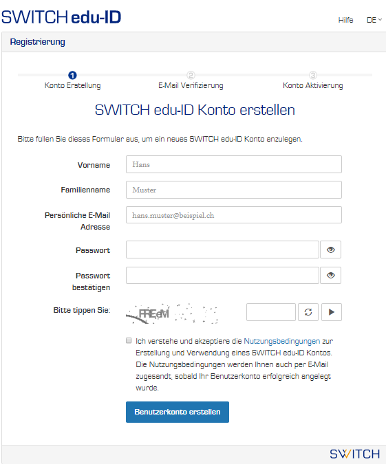 Formular SWITCH edu-ID Konto erstellen