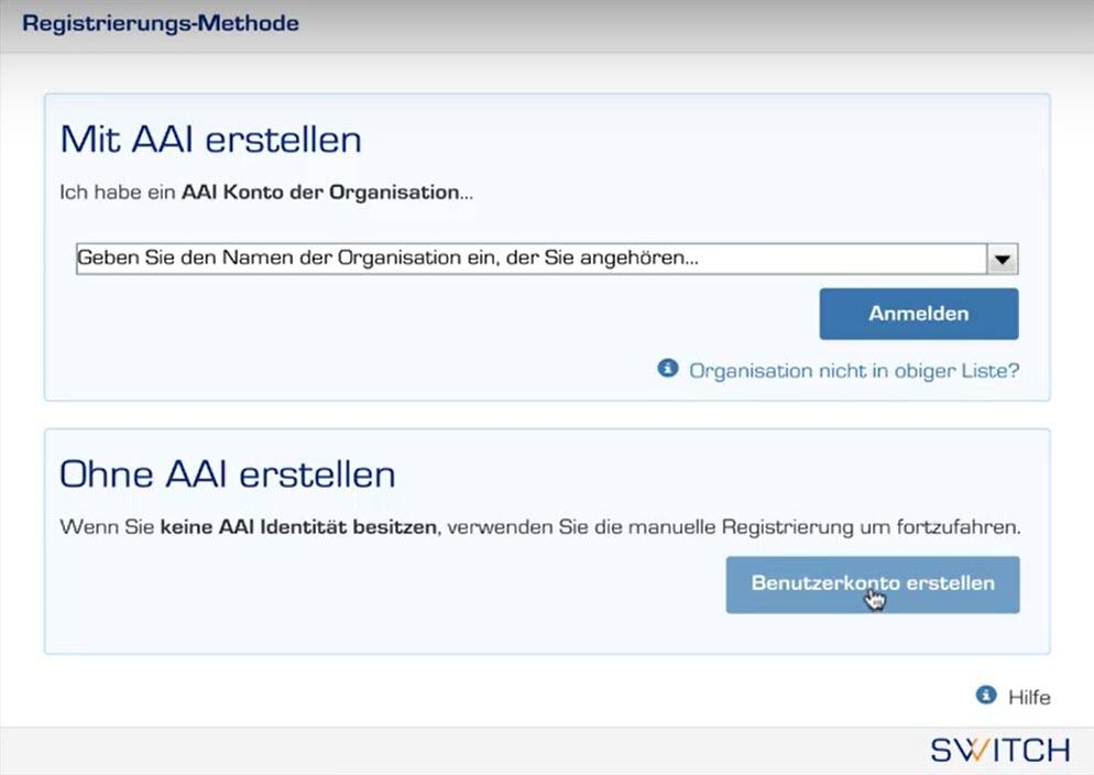 Auswahl zwischen Login mit AAI oder ohne AAI erstellen