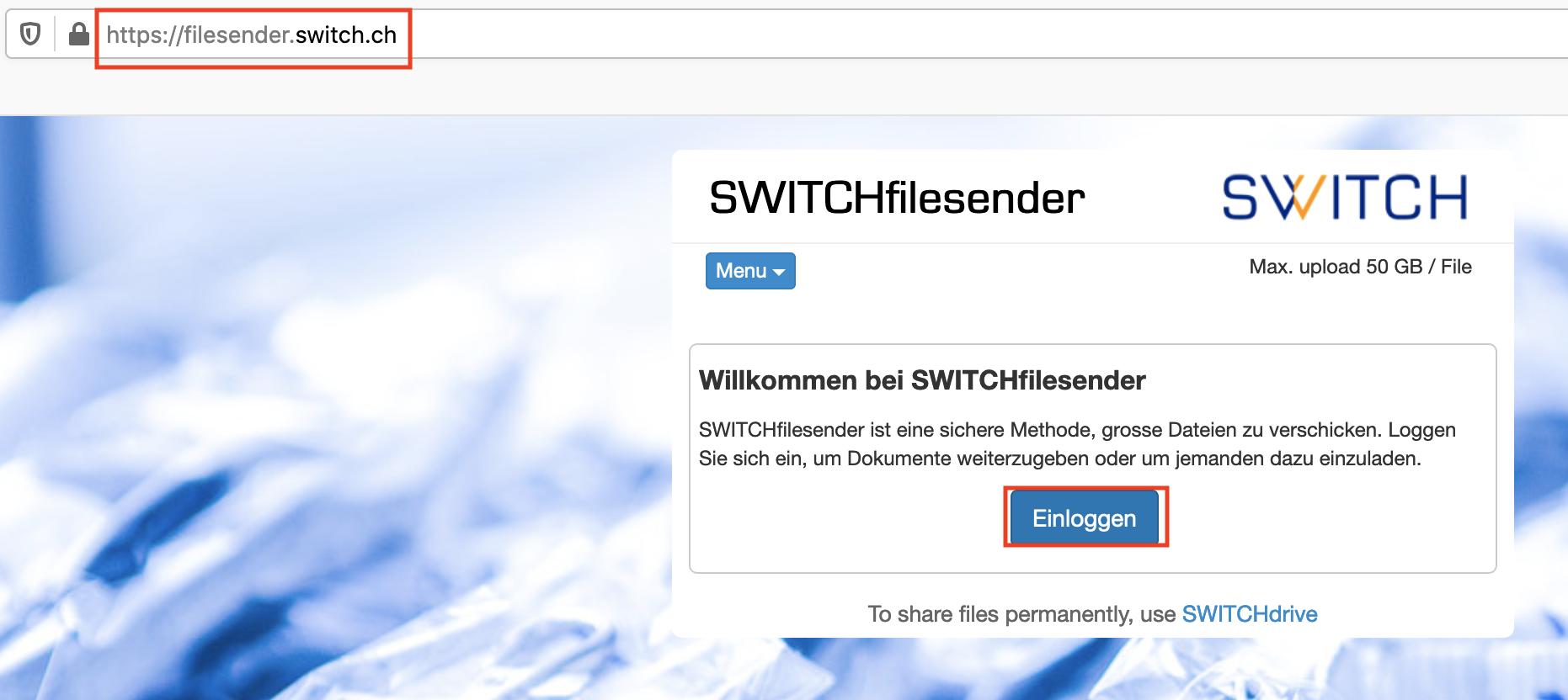 Startseite von switchfilesender