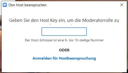 Zoom Eingabemaske Moderatorenschlüssel (Host Key)