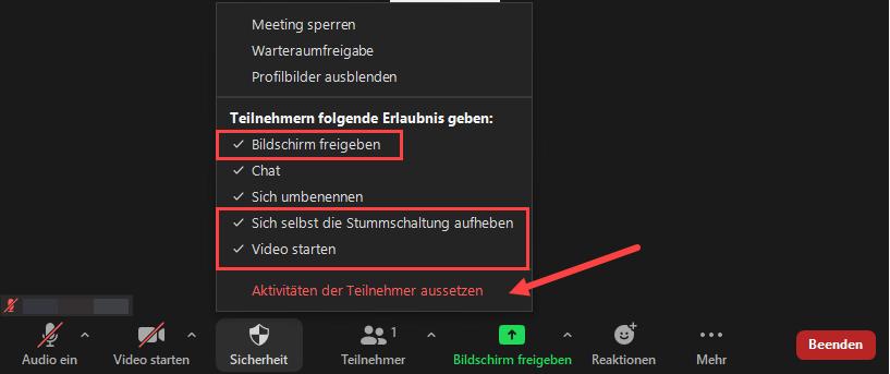"""Menüleiste im Zoommeeting ist aktiviert. Die Optionen im Menü """"Sicherheit"""" werden angezeigt."""
