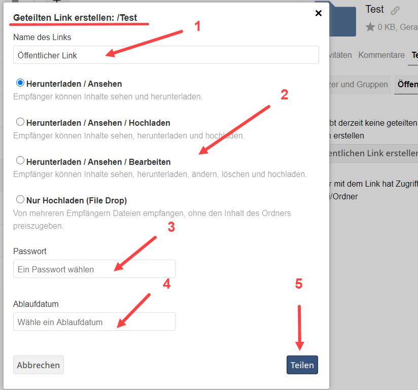 Screenshot von SWITCHdrive öffentlicher Link.
