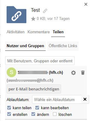 Screenshot von SWITCHdrive - Teilen mit Nutzer und Gruppen.