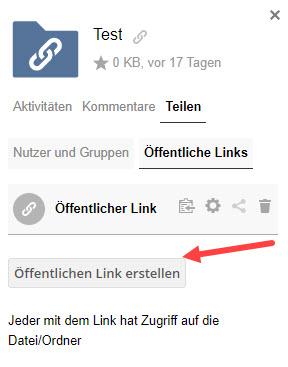 Screenshot von SWITCHdrive - öffentlichen Link erstellen.