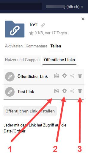 Screenshot von SWITCHdrive- öffentlichen Link teilen.