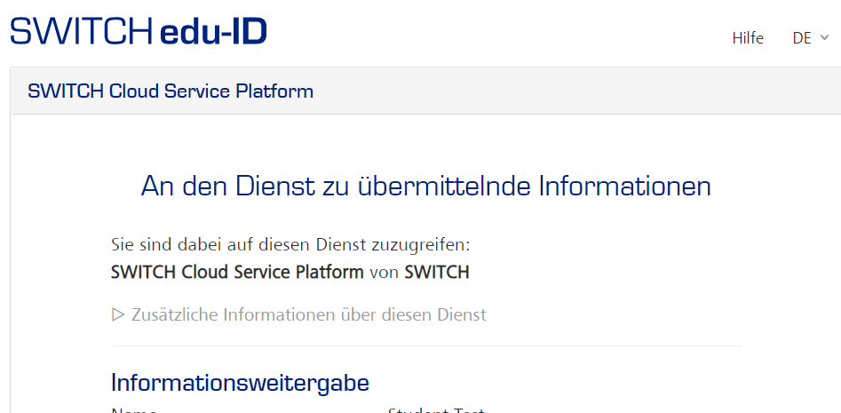 Screenshot der Information über die zu übermittelnden Daten für die Registrierung bei SWITCHdrive